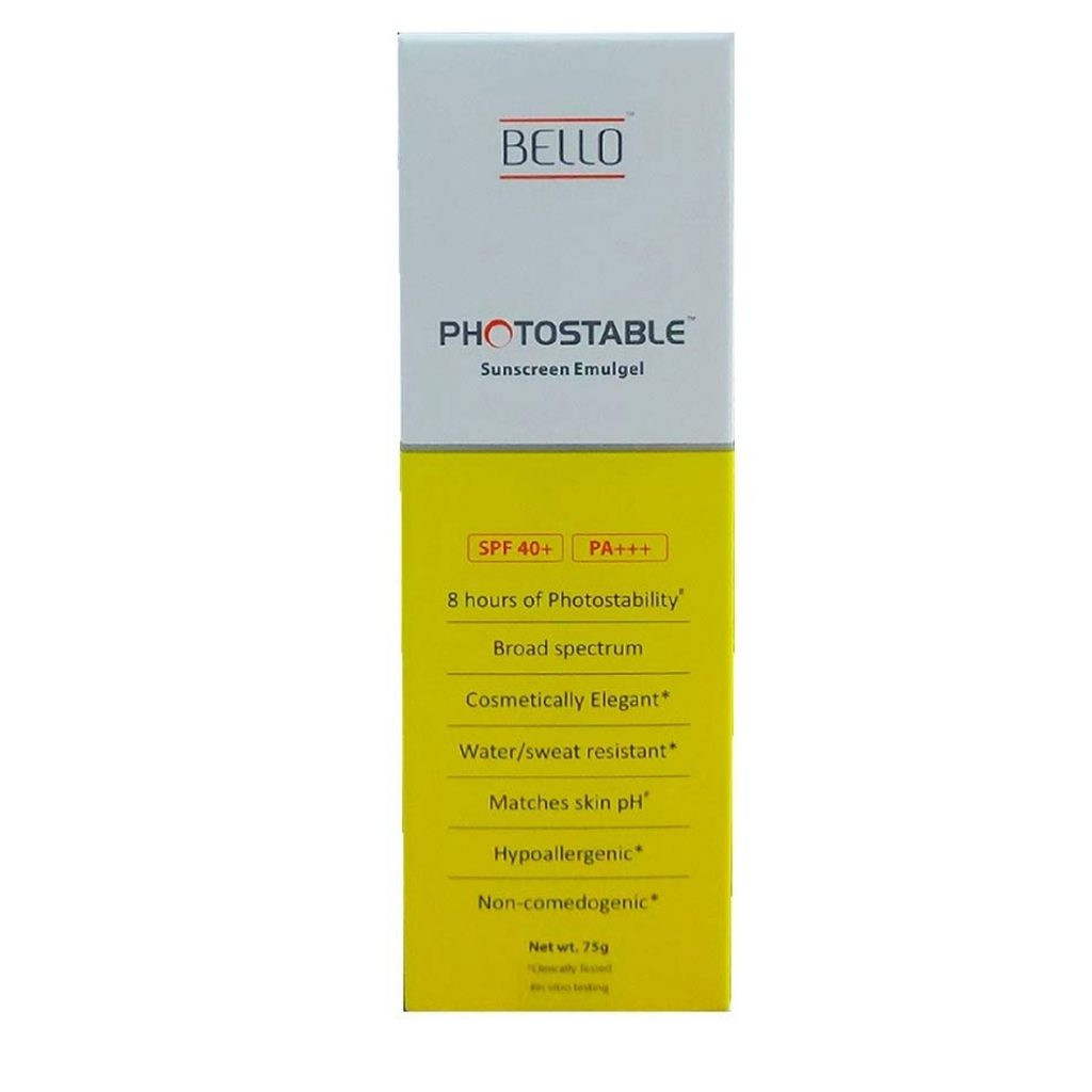 bello photostable sunscreen emulgel